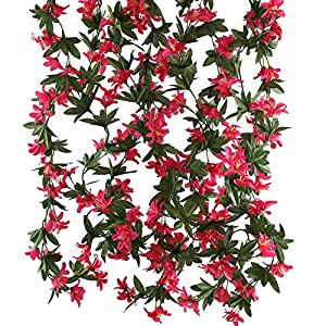 HUAESIN Artificial Vine Flowers 4pcs 5.9 FT Morning Glory Fake Hanging Plants Silk Garland Home Garden Wall Fence Stairway Outdoor Wedding Hanging Baskets Decor Red 57