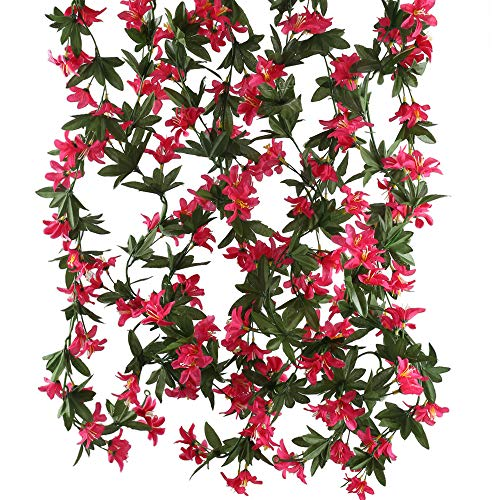 HUAESIN Artificial Vine Flowers 4pcs 5.9 FT Morning Glory Fake Hanging Plants Silk Garland Home Garden Wall Fence Stairway Outdoor Wedding Hanging Baskets Decor Red