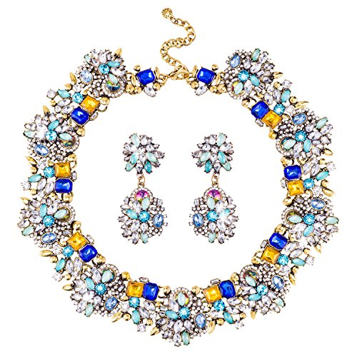 Jane Stone Fashion Gold Collar Necklaces Bling Rhinestone Jewelry Set for Women Girls(Fn1389-Royal Blue) (Statement Fashion Necklace)