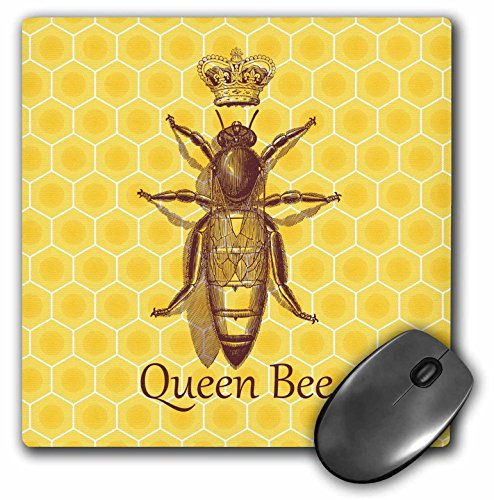 Stately Queen Bee with Royal Crown over Yellow Honeycomb - Mouse Pad, 8 by 8 inches (mp_219442_1)
