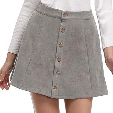 d7b1d6423 Amazon.com: Women A-Line Mini Skirts Solid Vintage Suedette Button High  Waist Plain Short Skirt: Clothing