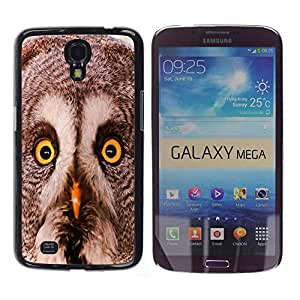 Qstar Arte & diseño plástico duro Fundas Cover Cubre Hard Case Cover para Samsung Galaxy Mega 6.3 / I9200 / SGH-i527 ( Owl Winter Smart Animal Bird Nature)