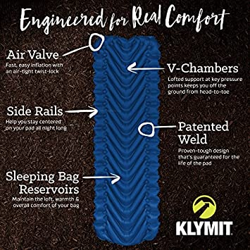 Klymit Static V2 Ultralight Sleeping Pad 2018 Model – Car Camping, Backpacking, Travel, Ultralight Outdoor Sleep System