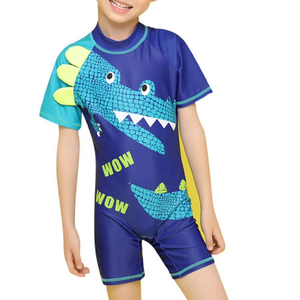 Yunqir Kids Wetsuit Children's One Piece Swimsuits Kids Crocodile Patterns Sunscreen Wetsuit for Water Sports(Blue)