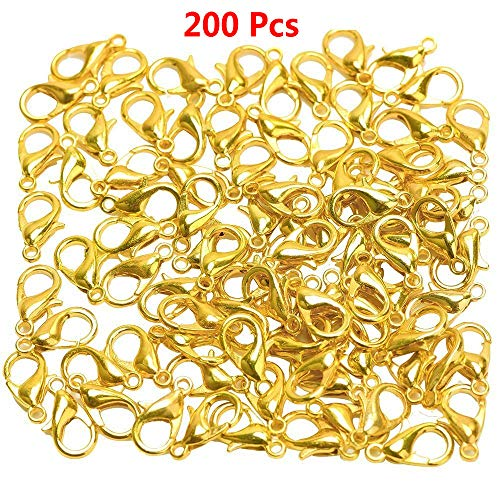 YYCC 200 Pcs Metal Alloy Gold Plated Curved Lobster Claw Clasps Clip Findings for Jewelry Making DIY,12mmx7mm, Making Accessories Jewelry Fastener Hook (Gold)