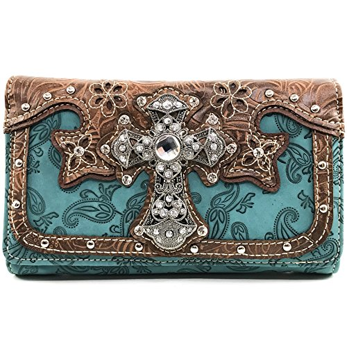 Justin West Paisley Embroidery Floral Tooled Leather Rhinestone Cross Shoulder Concealed Carry Handbag Purse (Teal -