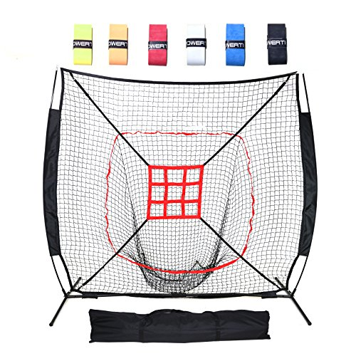 DACTECH 7 x 7 ft Baseball Softball Pitching And Hitting Net Large Mouth Training Aids Backstop with Bonus 6 Bat Grips, Bow Frame, Carry Bag, and Strike Zone by DACTECH