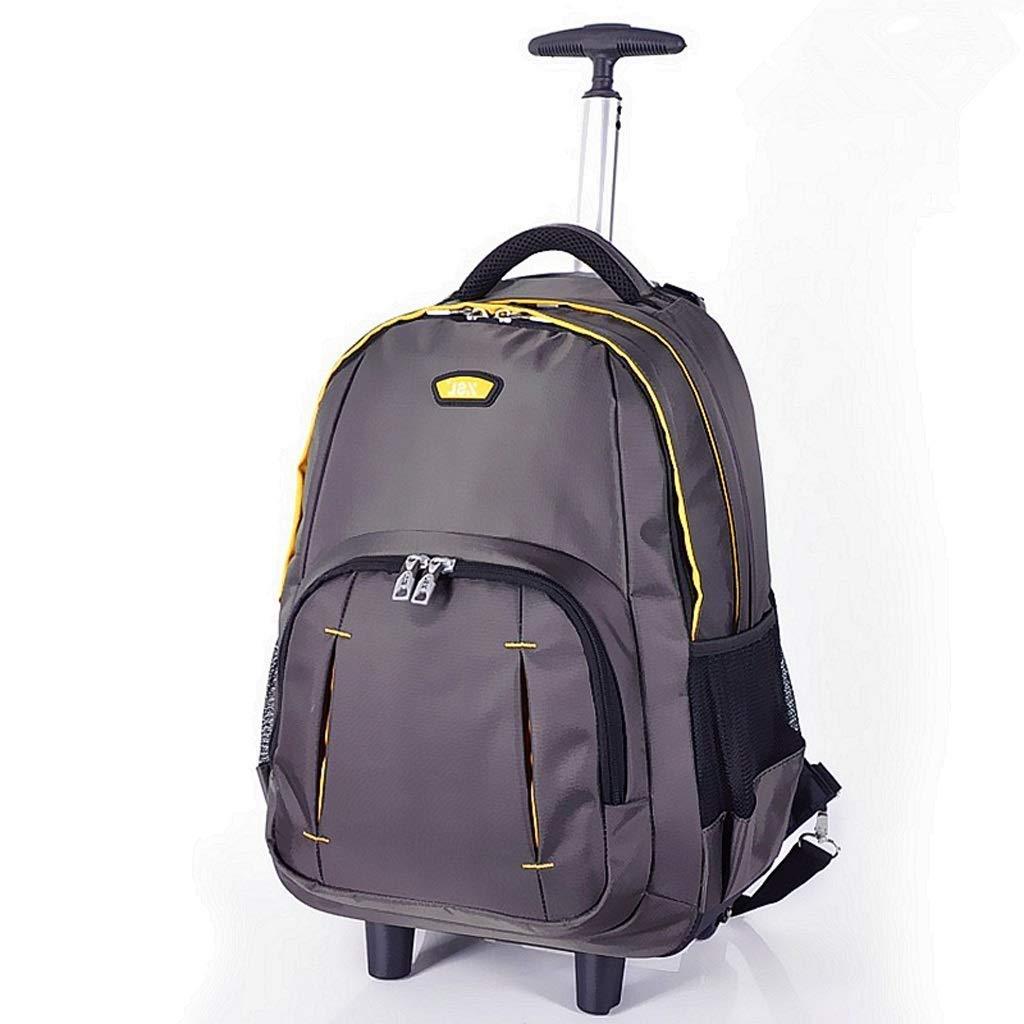 動かされた圧延のラップトップのカメラのバックパックのトロリー隠された引き棒耐久の、エグゼクティブの移動式オフィスのビジネス旅行のための防水ナイロン荷物のスーツケースグレー(46 * 32 * 20 cm) B07S6TL97G