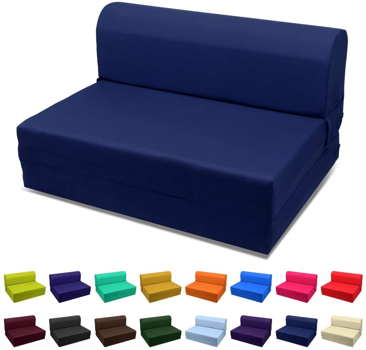 Magshion Futon Furniture Sleeper Chair Folding Foam Bed Choose Color & Sized Single,Twin or Full (Single (5x23x70), Navy Blue)