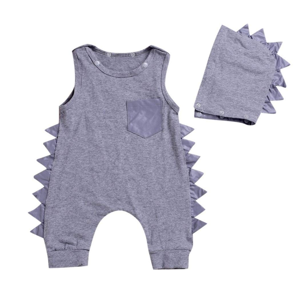 Detachable Hat Outfits Clothes Set kaiCran Clothing Baby Boy Newborn Sleeveless Solid Color Pocket Dinosaur Romper