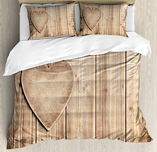 Valantines Day Duvet Cover Set King Size by Ambesonne, Rustic Heart over Wooden Planks Background Lovers Corner Romantic Celebration Print, Decorative 3 Piece Bedding Set with 2 Pillow Shams, Tan (Valantines Gift)