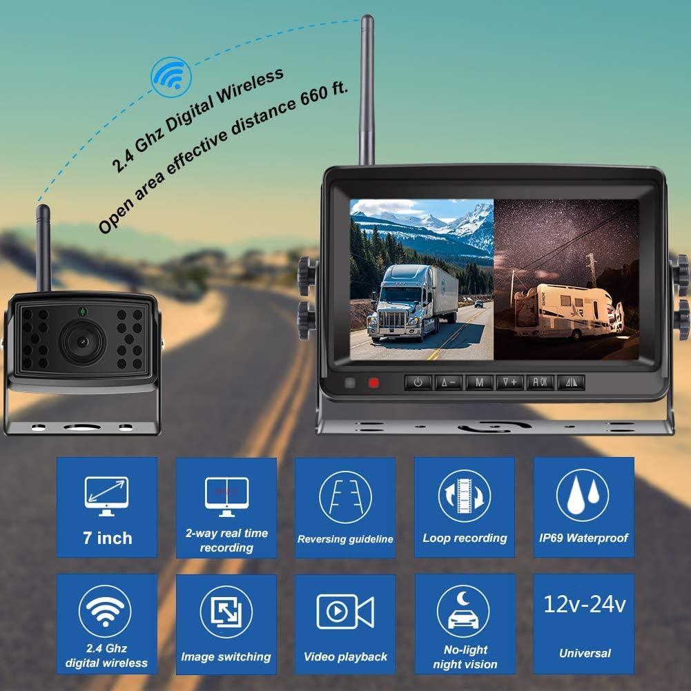 Van Niloghap Universal 5 inch LCD Monitor and Night Vision IP68 Waterproof Reverse Parking Front//Rear View Camera Set for Car RV Digital Wireless Backup Camera Kit SUV Camper Pickup Truck