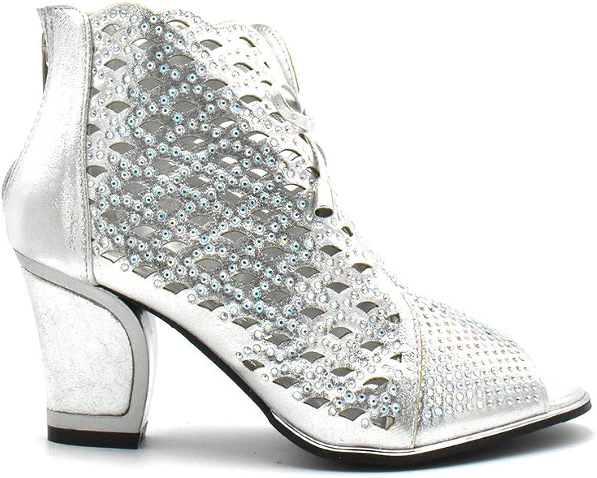 Bella Hanna Stylish & Comfort Shoes Women Party Shoe Open Toe Back Zipper Mid Chunky Heel Net02