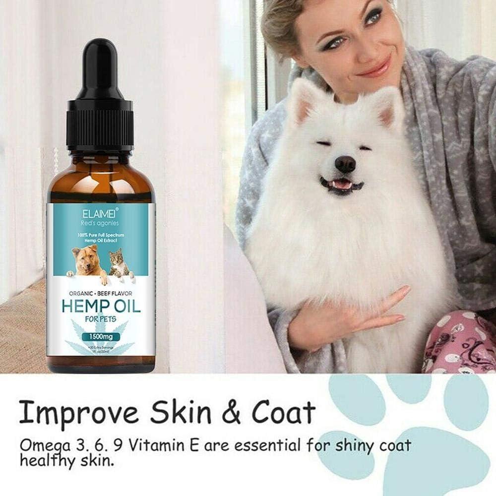 SSGLOVELIN Estrés 30ml Aceite de cáñamo Alivio del Dolor Masaje Esencial Oil Care Mejorar el sueño for el Gato del Perro de Animal a Reducir la ansiedad del Animal doméstico Productos # FS16