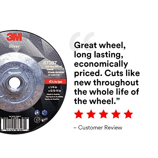 Black 6 x .045 x 7//8 3M Industrial Market Center Pack of 25 T1 6 x .045 x 7//8 3M Silver Cut-Off Wheel 87469