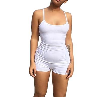 86f513bccd4b Tianve Casual Women s Spaghetti Strap Bodycon Short Jumpsuit Low Cut Sport Romper  Catsuit (White