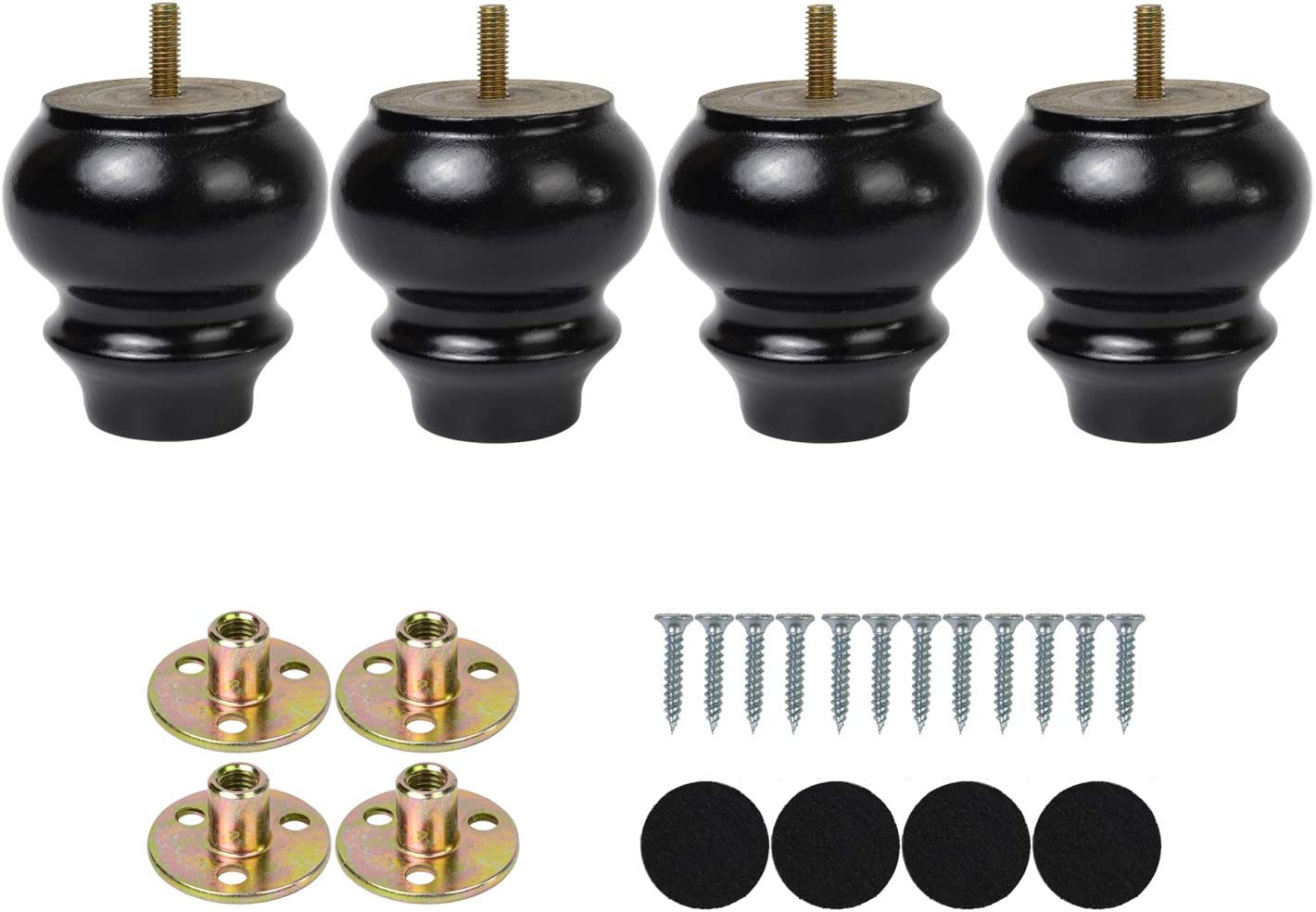3Inch Black Bun Feet Replacement Legs for Couch Sofa Legs Height Raiser with Pre-Drilled 5/16 Inch Bolt & Mounting Plate & Screws Set of 4