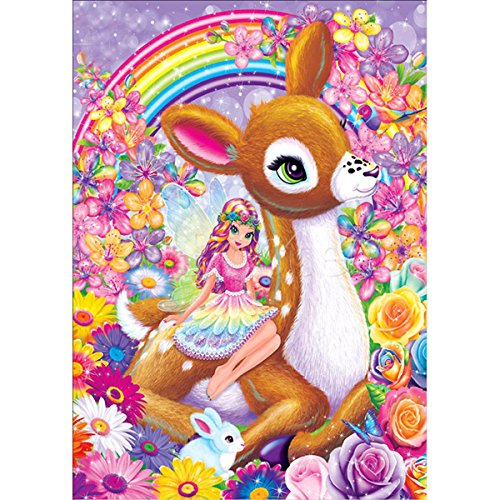 DIY 5D Diamond Painting by Number Kits, Crystal Rhinestone Embroidery Pictures Arts Craft for Home Wall Decor Gift,Fawn GRL -
