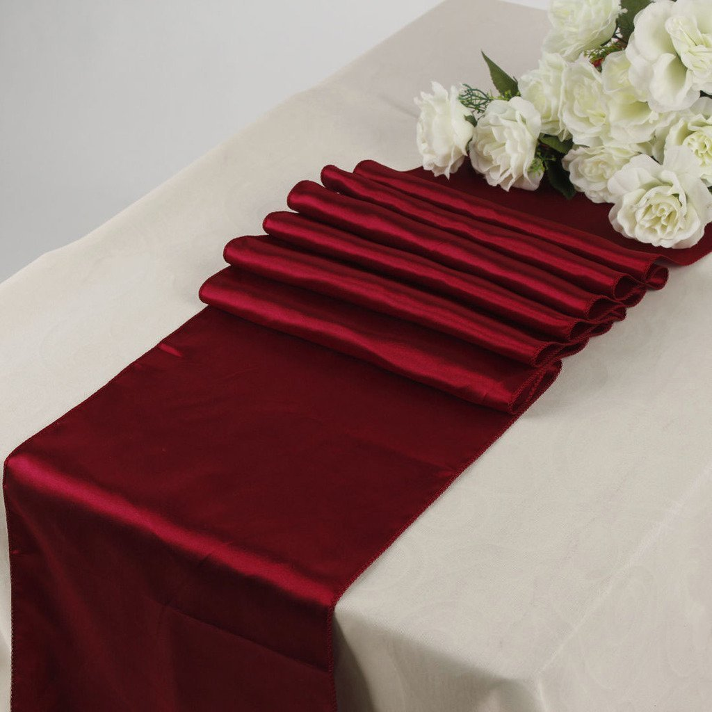 KING 10 Satin 12 x 108 inch Table Runner Banquet Wedding Party & Event -Maroon by KING (Image #1)