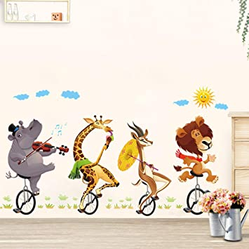 Bosque De Dibujos Animados Animal Que Monta En Bicicleta Pegatinas ...
