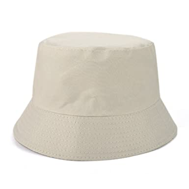 8a7b8ed8249 Opromo Unisex Reversible Cotton Bucket Hat Sun Outdoor Fishing Hat  Fisherman Cap-Beige  Amazon.co.uk  Clothing
