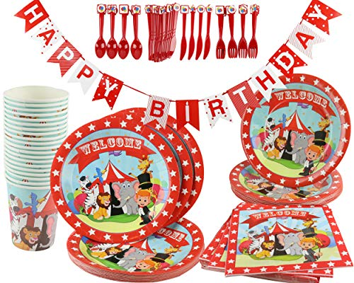 Circus Carnival Birthday Party Decoration Supplies Kit 141 Piece (Serves 20) Plates Cups Napkins Banner ()