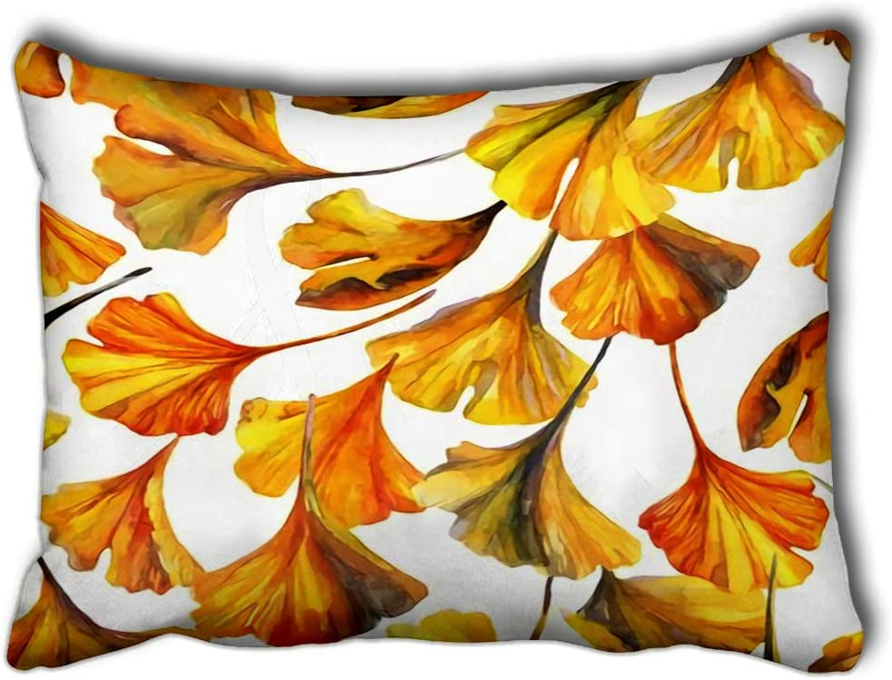 Amazon Com Yilinger Decorative Pillow Covers Watercolor Autumn Leaves Drawing Of Ginkgo Leaf Water Color Paper Textures Floral Cushion Cover Throw Pillows Case 16 X24 Home Kitchen
