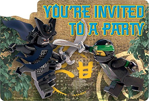 Amazon 8 lego ninjago movie birthday party invite invitations 8 lego ninjago movie birthday party invite invitations cards plus envelopes stopboris Images
