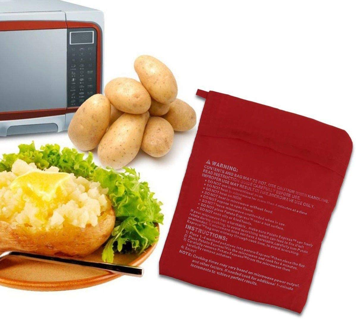 ACELEY Bolsa para cocinar Patatas para microondas, Bolsa para cocinar Tortillas Lavables, Bolsa para Patatas Reutilizable, Bolsas para Patatas para microondas, Bolsa para Patatas Cook tatoes