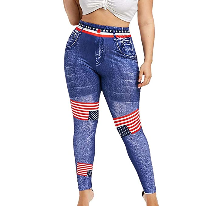 235814406f6cc1 Guo Nuoen High Waist Yoga Pants Plus Size 3D Jeans Print 4th of July  American Flag