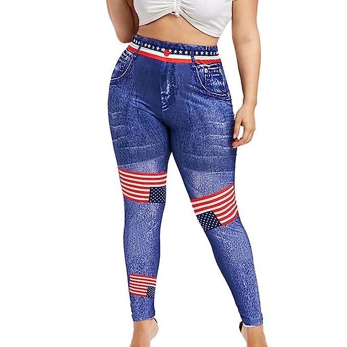0b5a0d1fe35 Guo Nuoen High Waist Yoga Pants Plus Size 3D Jeans Print 4th of July ...