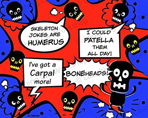 Funny doctors office decor Back to School Nurse art Kids comics cartoon superhero print Medical art for Children Funny skeleton skull art Halloween decor ()