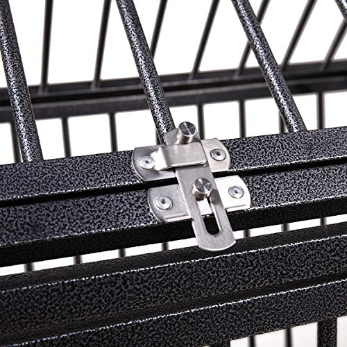 Heavy Duty Dog Cage,42&37 Strong Metal Large Dog Kennel,Large Dog Crates for Medium and Large Dogs,Dog Cage with Double Doors&Locks&Lockable Wheels.(42)