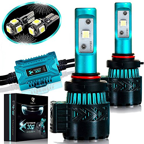 03 Jeep Grand Cherokee Headlight - Glowteck LED Headlight Bulbs Conversion Kit - 9005(HB3) CREE XHP50 Chip 12000 Lumen/Pair 6K Extremely Bright 68w Cool White 6500K For Bright & Greater Visibility 2 Year Warranty