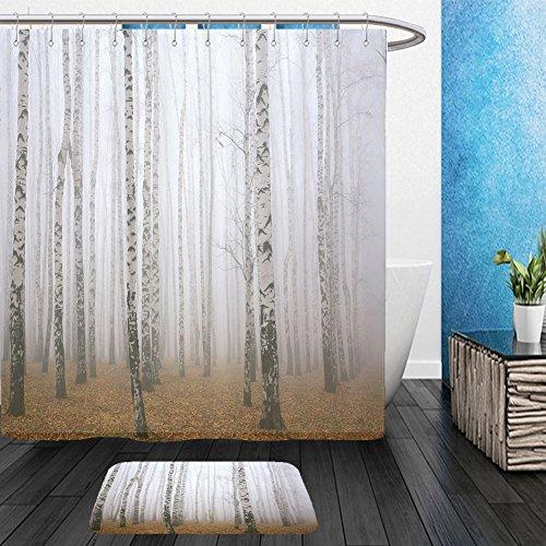 Vanfan Bathroom 2 Suits 1 Shower Curtains    1 Floor Mats Morning Mist In Autumn Birch Grove 236192770 From Bath Room