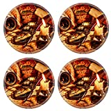 MSD Round Coasters Vintage compass magnifying glass quill - Best Reviews Guide