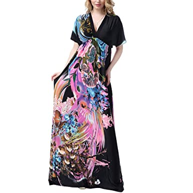 d052ce752c2 Image Unavailable. Image not available for. Color  Women Casual Sexy  Low-Cut V-Neck High Waist Short Sleeve Floral Printed Dress