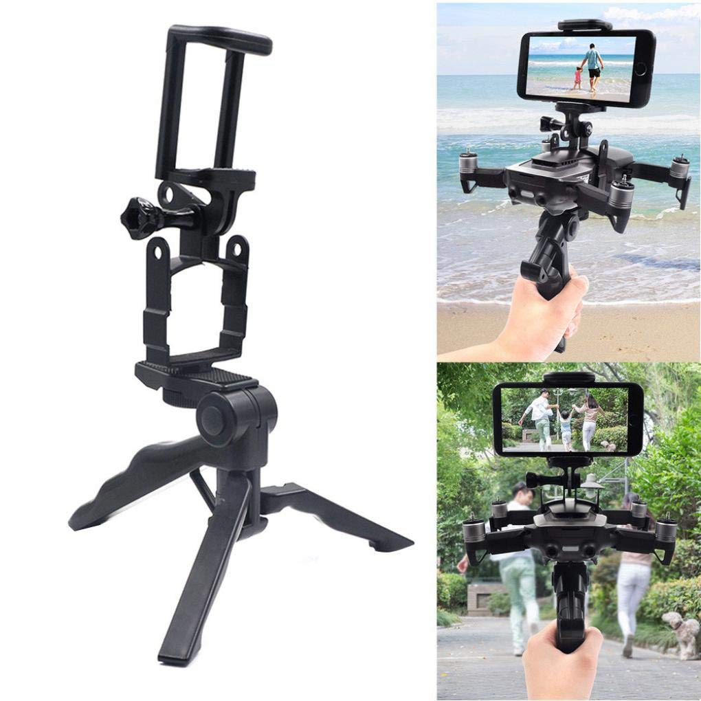 For DJI Mavic Air Drone Foldable Handled Tripod Holder Mount Bracket Stabilizer - 55-80mm Width Smartphone - Black