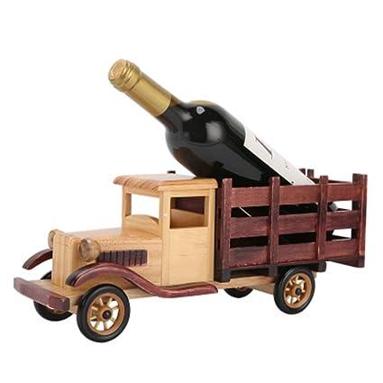 SUNBOR Wine Rack Countertop Truck - Portavasos De Madera Maciza 370 X 108 X 145 Mm