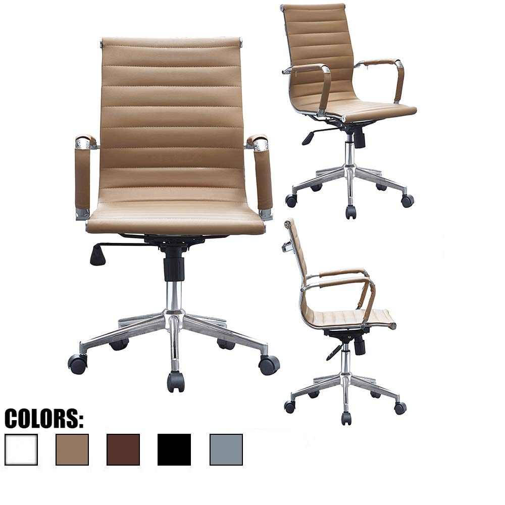 2xhome Tan Ergonomic Executive Chair Mid Back PU Leather Arm Rest Tilt Adjustable Height with Wheels Arms Ergonomic Swivel Task Computer Desk Office Conference Room Guest Lumbar Support Mid Century