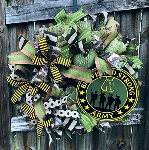 (Army wreath| Military wreath |Camouflage Army wreath| Army decorative Wreath| Army door hanger | Army decor| Free Shipping |Hard Working Mom)