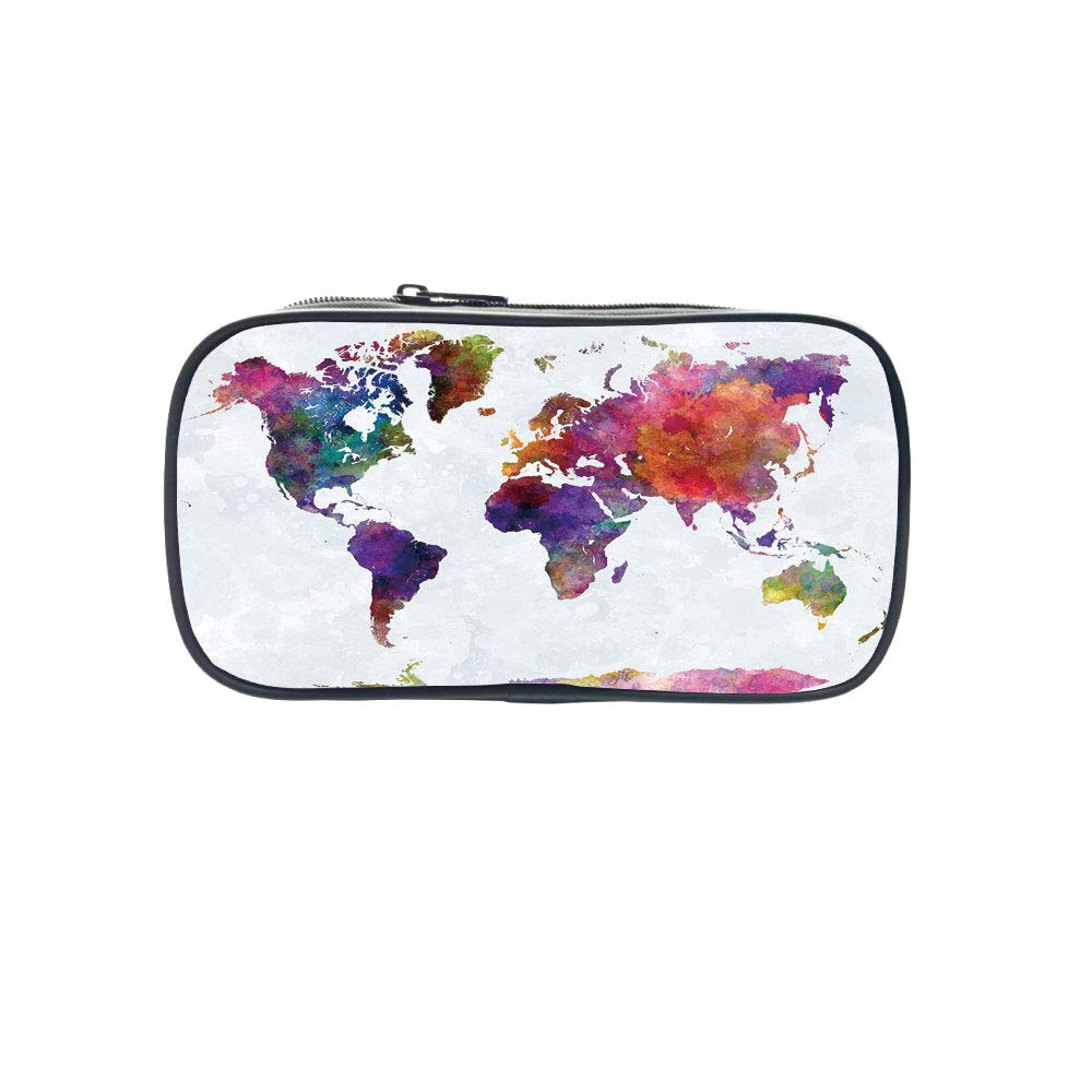 Polychromatic OptionalPen Bag,Watercolor,Multicolored Hand Drawn World Map Asia Europe Africa America Geography Print Decorative,Multicolor,for Kids,Diversified Design