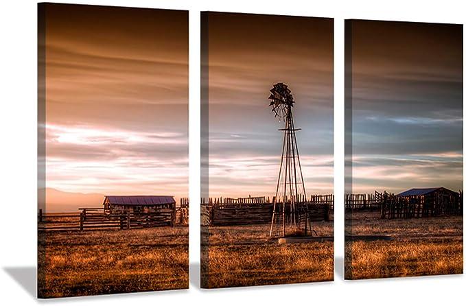Windmill Lavender Field 5 panel canvas Wall Art Home Decor Poster Print