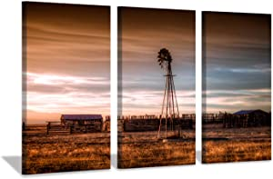 related image of             Hardy Gallery Windmill Artwork Rustic Landscape Picture
