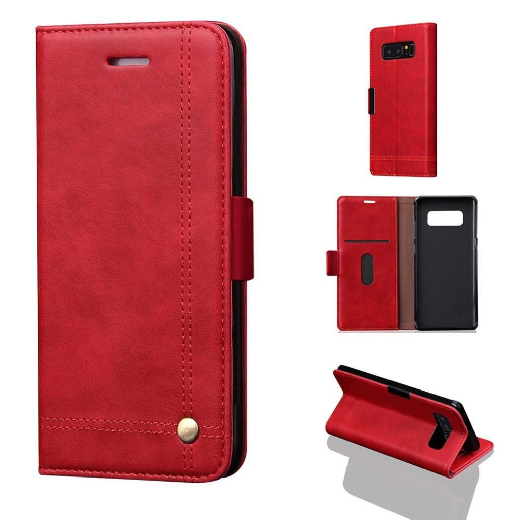 bescita Luxus Flip Leder Brieftasche Case Skin Schutz fü r Samsung Galaxy Note 8 (Braun)