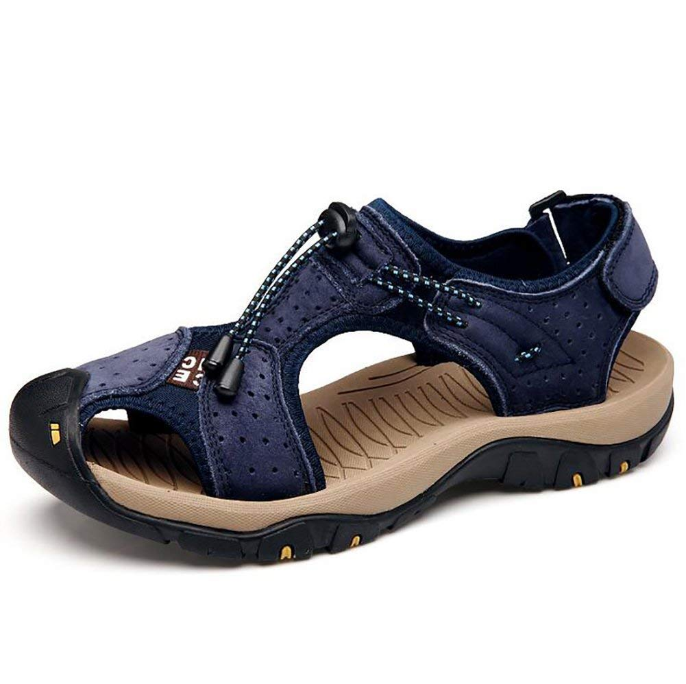 bluee Yingsssq Leather Sandals Men's Beach Slipper Casual Sport Travel Walking Flip Flops, Yellow, 44 (color   bluee, Size   42)