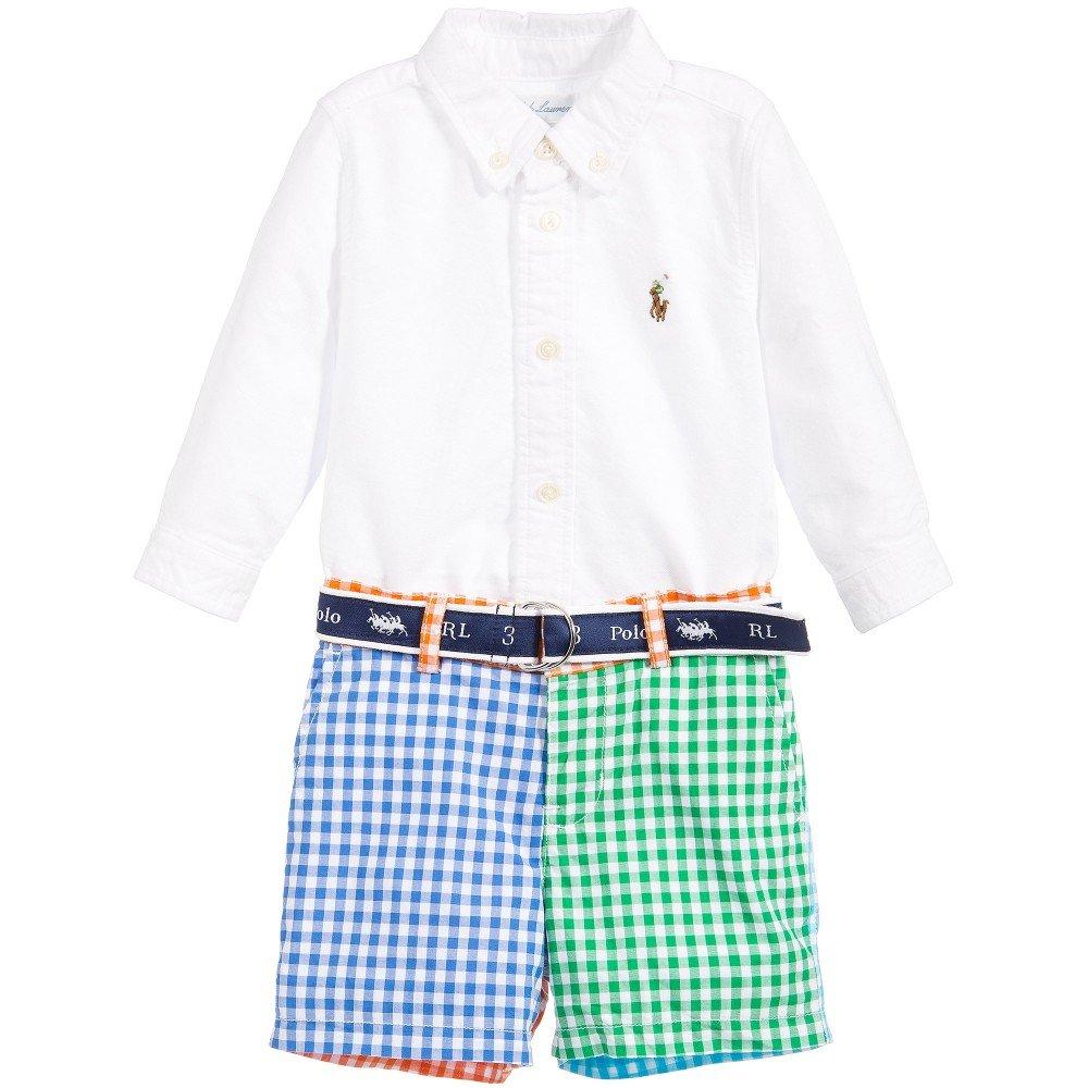 e8e33dcc8093a Amazon.com  Ralph Lauren Baby Boys Oxford Shirt   Colorblock Gingham Shorts  Set (9 Months)  Baby