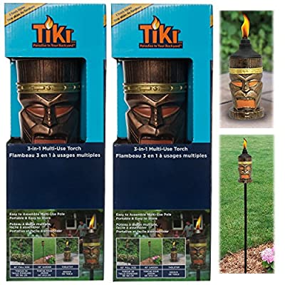 TIKI Torches Set Outdoor 3-In-1 Tabletop Garden Deck or 63 Inch Yard Lamp Stand, 2 Pack