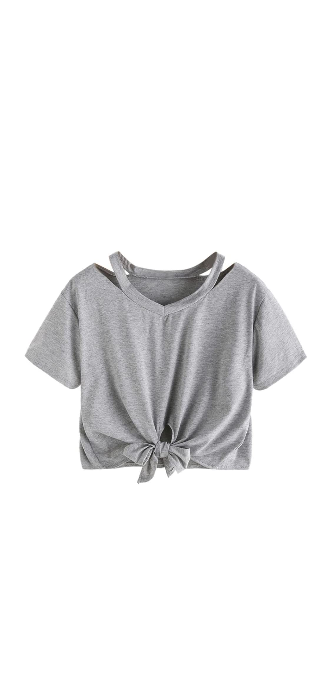 Women Cute T-shirt Bow Long Sleeve Hollow Out V-neck