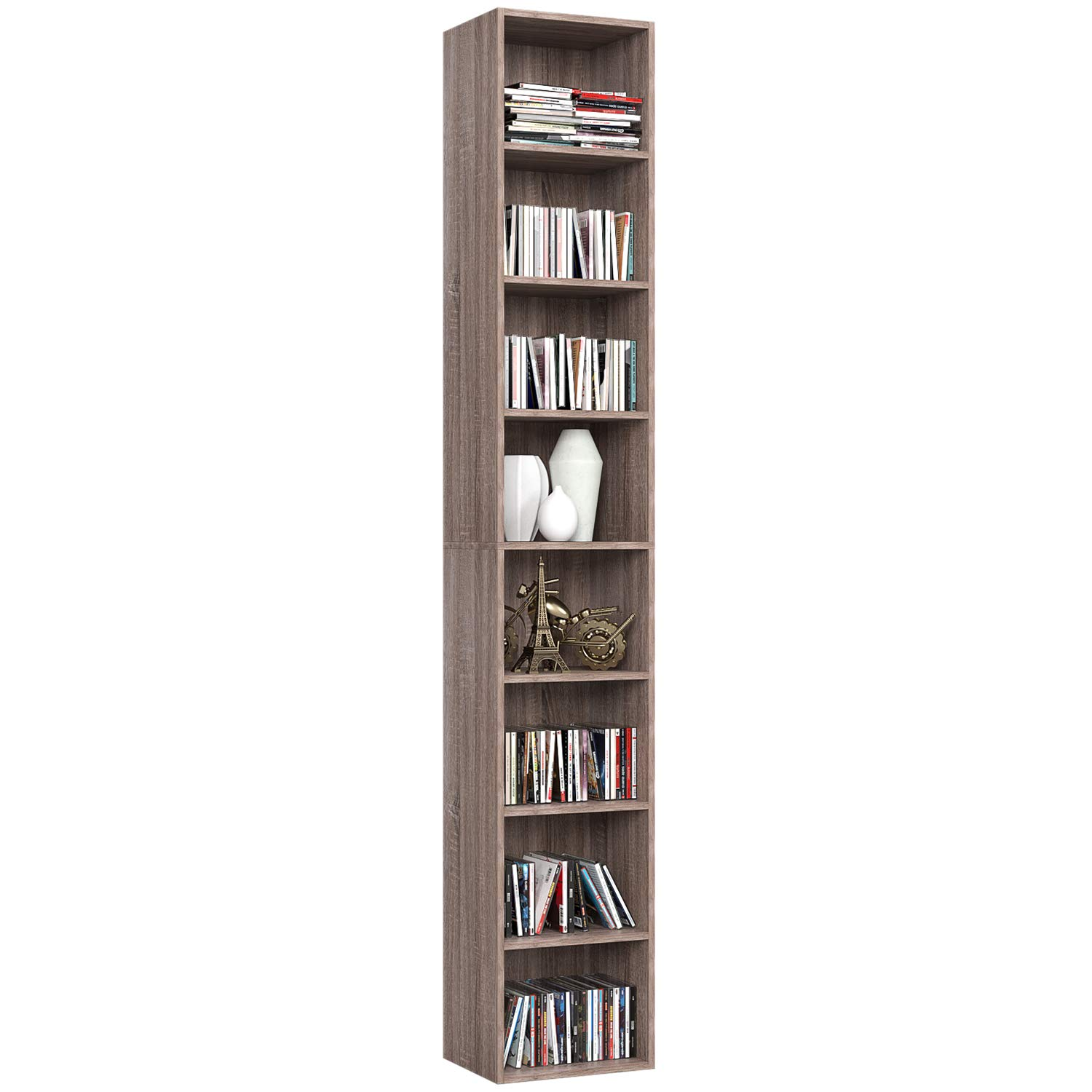 Homfa CD DVD Storage Tower Rack, 8-Tier Wooden Media Storage Organizer Cabinet Unit, 71 Inches Height Bookshelf Display Bookcase with Adjustable Shelves for CDs, Books, Video Games, Arts, Oak by Homfa